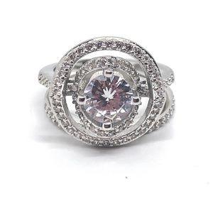 Jewelry - Sterling Silver Stamped Round Cut Diamond Ring Set